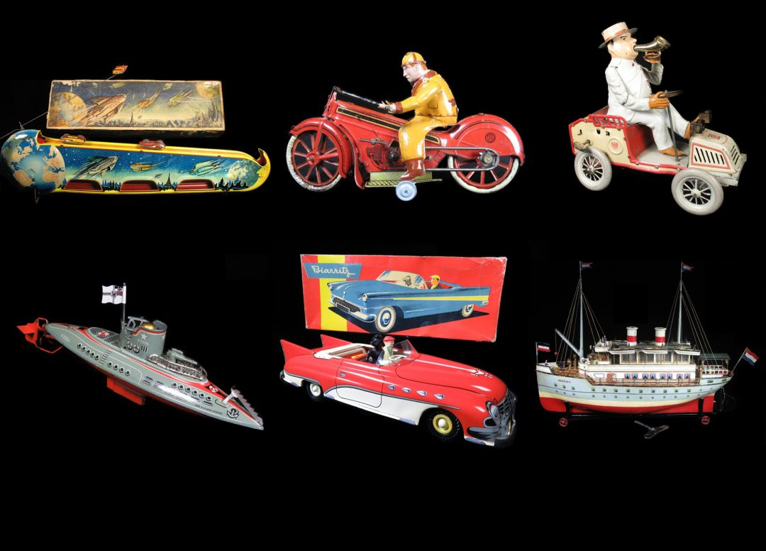 Vintage Antique Tin Lithograph and Celluloid European Manufactured Motorcycle Boat Ship Plane Car Submarine Tank Toys For Sale By Dealer
