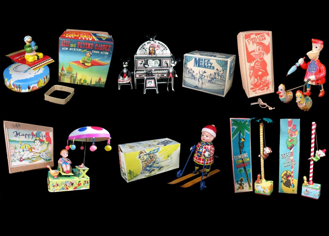 Vintage Antique Tin Lithograph and Celluloid Japan German American Wind-Up Toys For Sale By Dealer