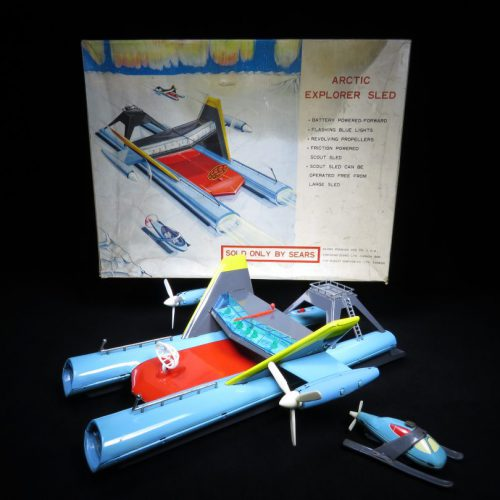 Antique / Vintage Arctic Explorer Sled - Sears Exclusive – Japan Futuristic Space Tin Lithograph Battery Operated Toy