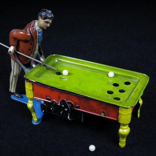 Vintage Antique Tin Lithograph Wind-up Billiards Pool Gentleman Player Toy Kico Germany
