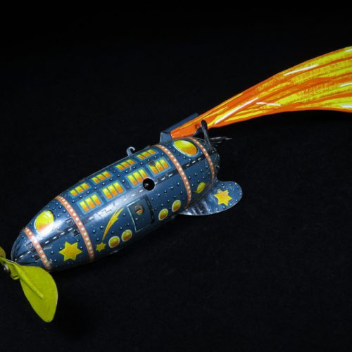 Antique Vintage Rocket - Bing – Germany Tin Lithograph Wind-Up Futuristic Space Rocket Ship with Propeller Toy For Sale