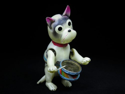 Vintage Antique Tin and Celluloid Wind-up Bonzo Drumming Toy Japan