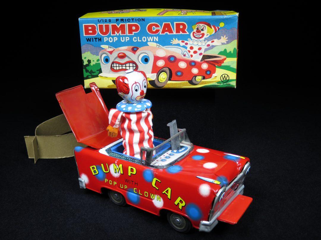 Vintage Antique Tin Lithograph Friction Circus Clown Bump Car Toy Japan