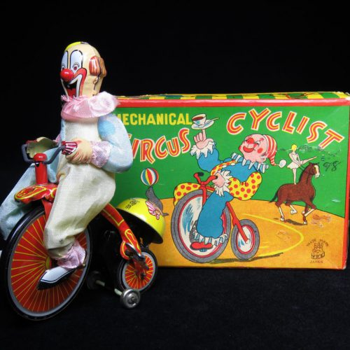 Vintage Antique Tin Lithograph Wind-up Circus Clown Cyclist Bike Toy TPS Japan
