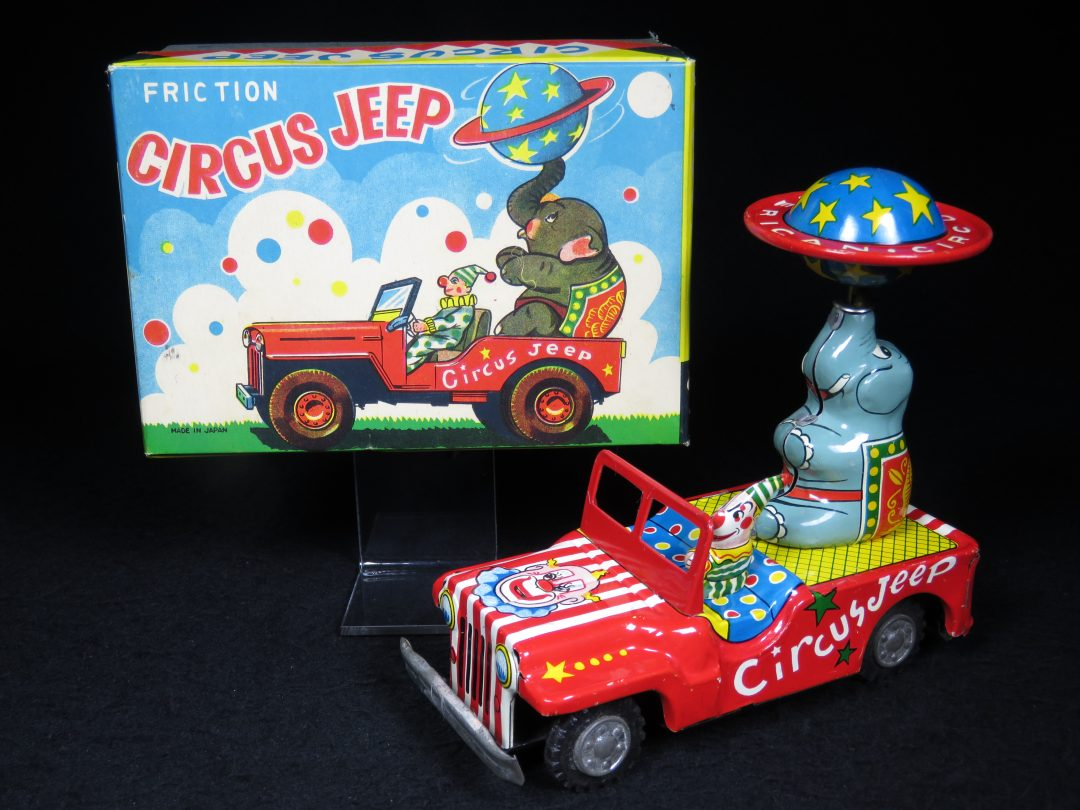 Vintage Antique Tin Lithograph Wind-up Friction Circus Jeep Car Elephant Toy Japan