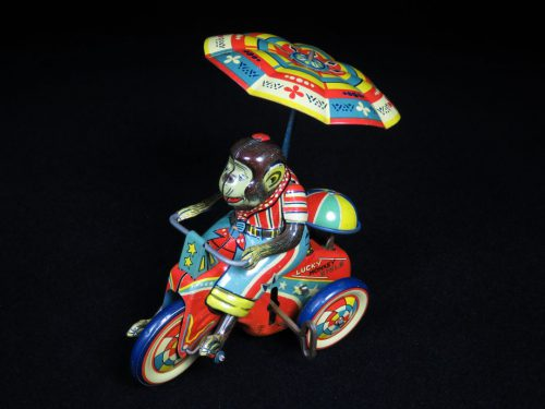Vintage Antique Tin Lithograph Wind-up Circus Monkey Tricycle Trike Bike Toy T.Y Japan