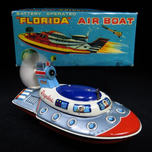Antique Vintage Florida Air Boat - ATC, Asahi – Japan Tin Lithograph Battery Operated Futuristic Flying Ship with Propeller Toy For Sale