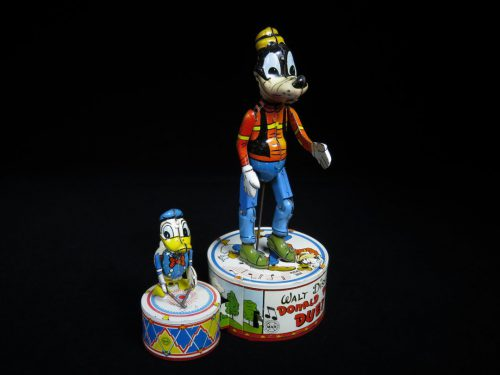 Vintage Antique Tin Lithograph Battery Operated Goofy and Donald Duck Walt Disney Duet Linemar Japan