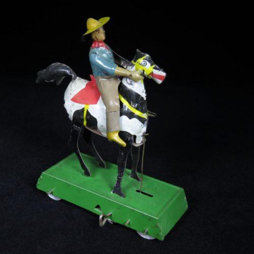 Vintage Antique Tin Lithograph Wind-up Wild West Bucking Bronco Cowboy on Horse Toy Germany