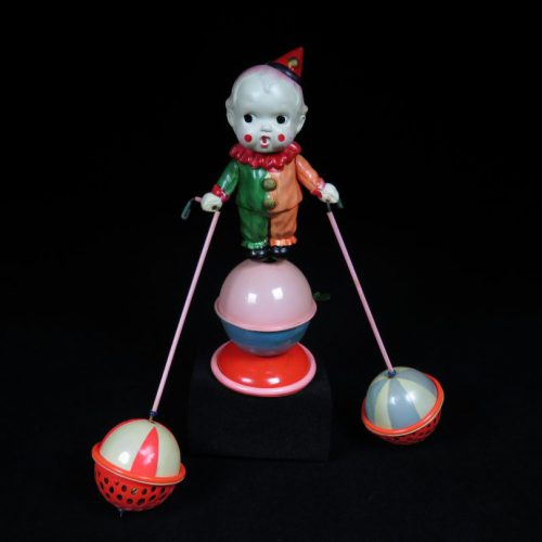 Vintage Antique Tin Celluloid Wind-up Circus Toy Clown with Balls Japan