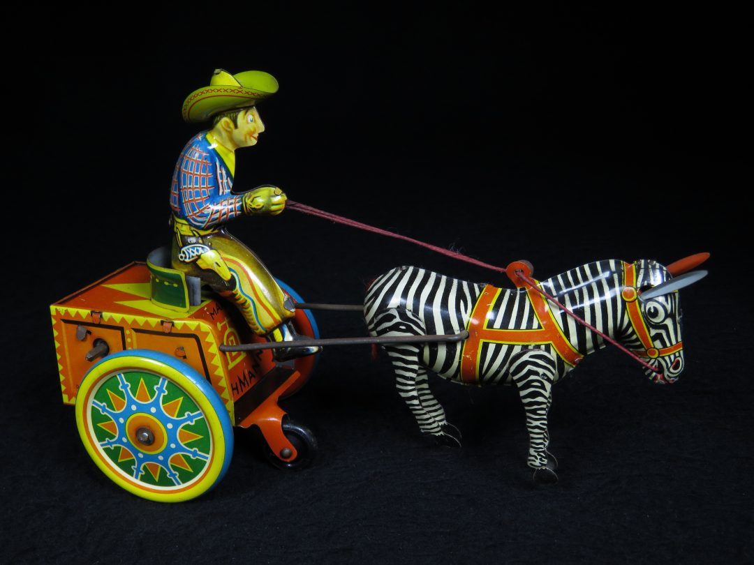 Vintage Antique Tin Lithograph Gallop Cowboy on Cart with Zebra Horse Wind-up Toy Lehmann Germany