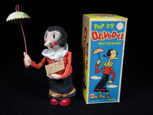 Vintage Antique Tin and Cloth Pop Up Olive Oyl Wind-up Toy Linemar Japan