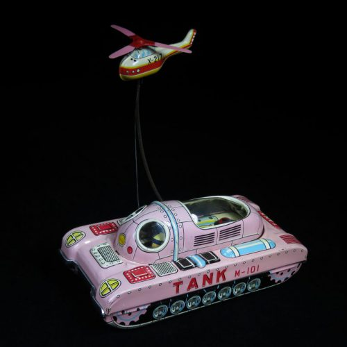 Antique / Vintage M-101 Space Tank & Helicopter - Nomura - Japan Tin Lithograph Wind-Up Futuristic Space Toy For Sale
