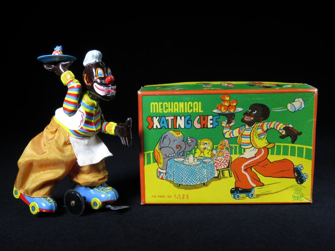 Vintage Antique Tin Lithograph Wind-up Mechanical Skating Chef TPS Japan Toy