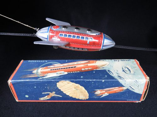 Vintage Antique Tin Lithograph Wind-up Mondrakete Sky Rocket Ship Space Toy Guntherman Germany