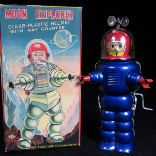 Antique Vintage Tin Space Moon Explorer Robot Wind-Up Toy Japan