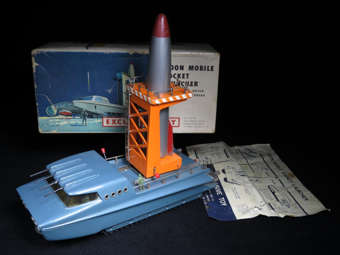 Vintage / Antique Moon Mobile Rocket Launcher - Sears Exclusive - Japan Tin Lithograph Battery Operated Space Vehicle