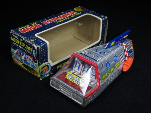 Antique Vintage Moon Space 11 Explorer - T.T Takatoku – Japan Tin Lithograph Friction Powered Futuristic Lunar Vehicle Toy with Original Box For Sale