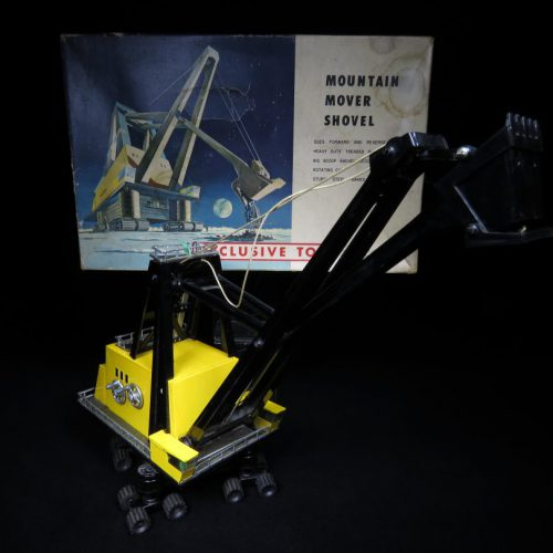 Antique / Vintage Mountain Mover Shovel - Sears Exclusive - Japan Futuristic Tin Lithograph Battery Operated Space Vehicle Toy For Sale