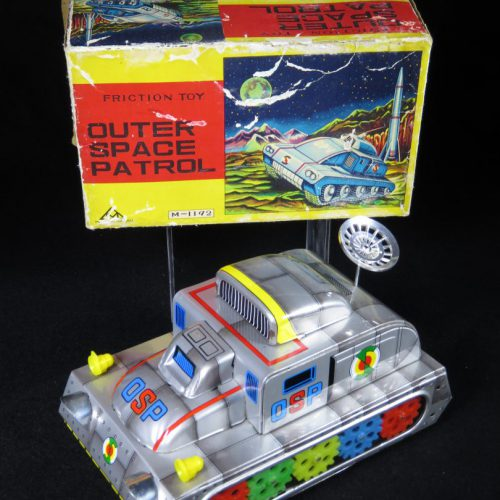 Antique Vintage Outer Space Patrol Tank - Mihashi – Japan Tin Lithograph battery Operated Futuristic Tank Vehicle with Radar Dish in Original Box For Sale