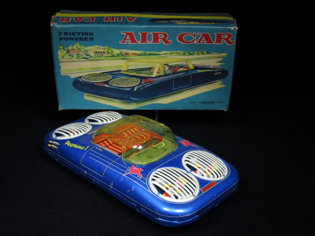 Antique Vintage Pegasus Air Car - Toy Master – Japan Tin Lithograph Friction Powered Futuristic Space Vehicle Flying Car with Jet Engine Propellers Toy For Sale