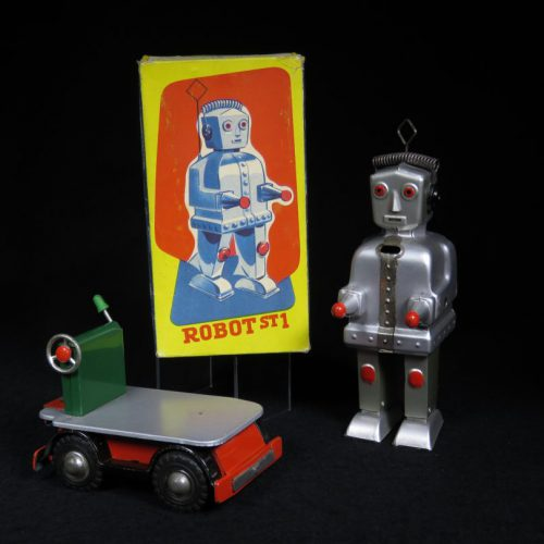 Antique Vintage Tin Space Robot Wind-Up Toy Japan ST1