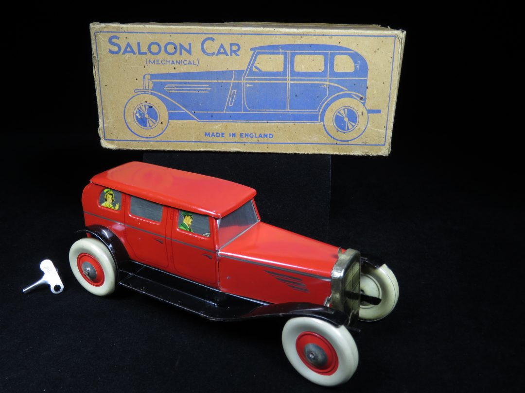 Vintage Antique Tin Lithograph Wind-up Saloon Car Vehicle Limo Toy Chad Valley Germany