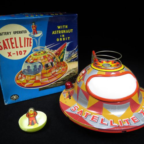 Antique Vintage X-107 Satellite Flying Saucer - Masudaya - Japan Tin Lithograph Battery Operated Futuristic UFO Vehicle Toy For Sale