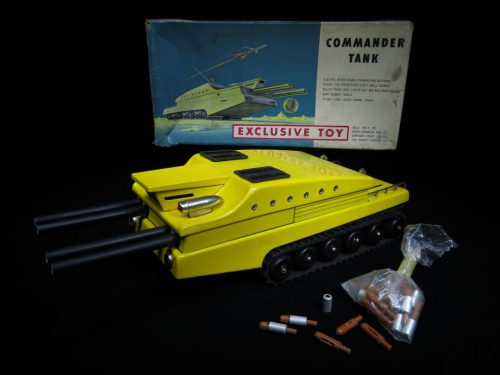 Antique / Vintage Commander Space Tank - Sears Exclusive - Japan Futuristic Tin Lithograph Battery Operated Space Vehicle
