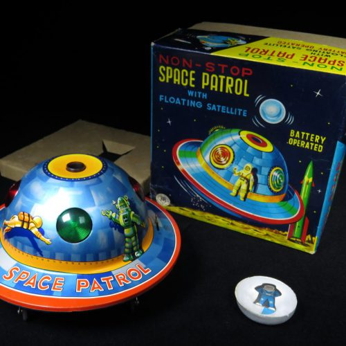 Antique Vintage Robby X-15 Space Patrol Flying Saucer - Masudaya - Japan Tin Lithograph Battery Operated UFO Vehicle Toy For Sale