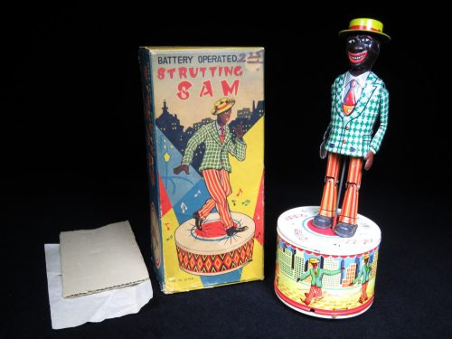 Vintage Antique Tin Lithograph Strutting Sam Black Americana Battery Operated Toy Japan