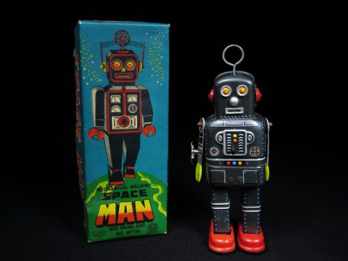 Antique Vintage Tin Space Robot Man Wind-Up Toy Japan