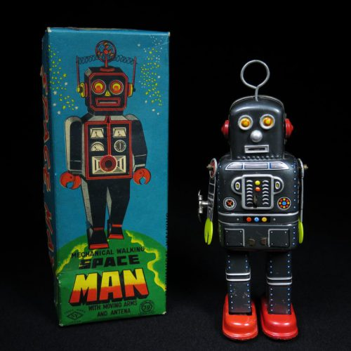 Antique Vintage Tin Space Robot Man Wind-Up Toy Japan