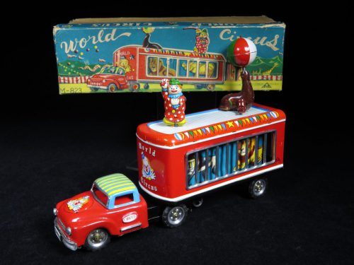 Vintage Antique Tin Lithograph Wind-up World Circus Clown and Seal Truck Car Vehicle Toy Mitsuhasi Japan